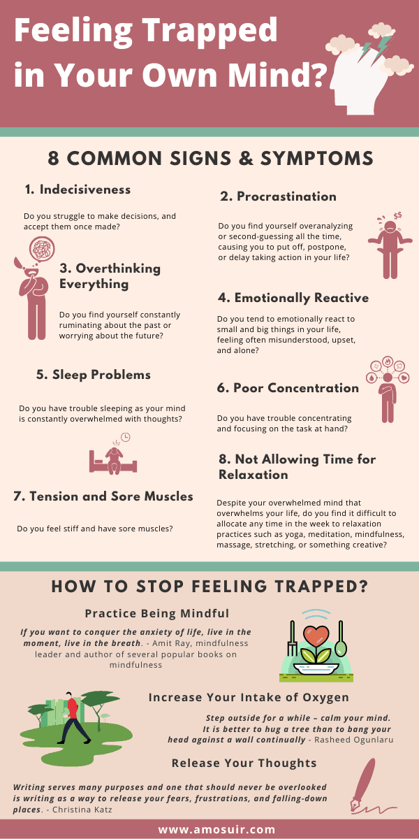 Feeling trapped in your own mind - 8 common signs and how to stop feeling trapped infographic