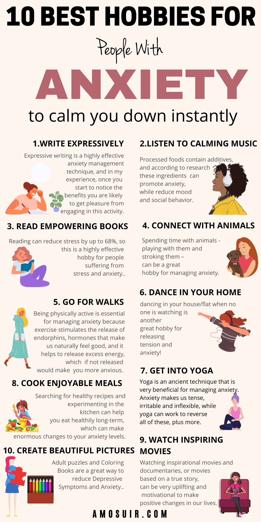 10 BEST HOBBIES FOR PEOPLE WITH ANXIETY INFOGRAPHIC