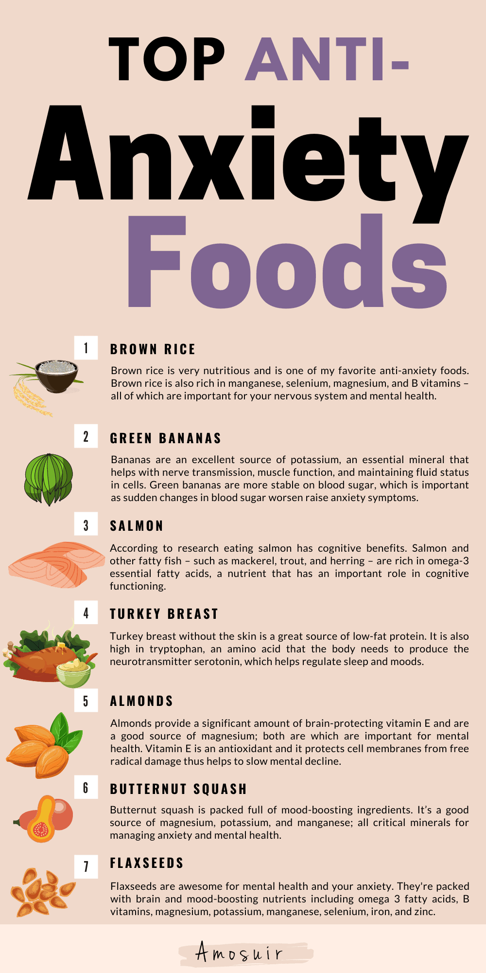 Anti-anxiety foods that calm your nerves infographic