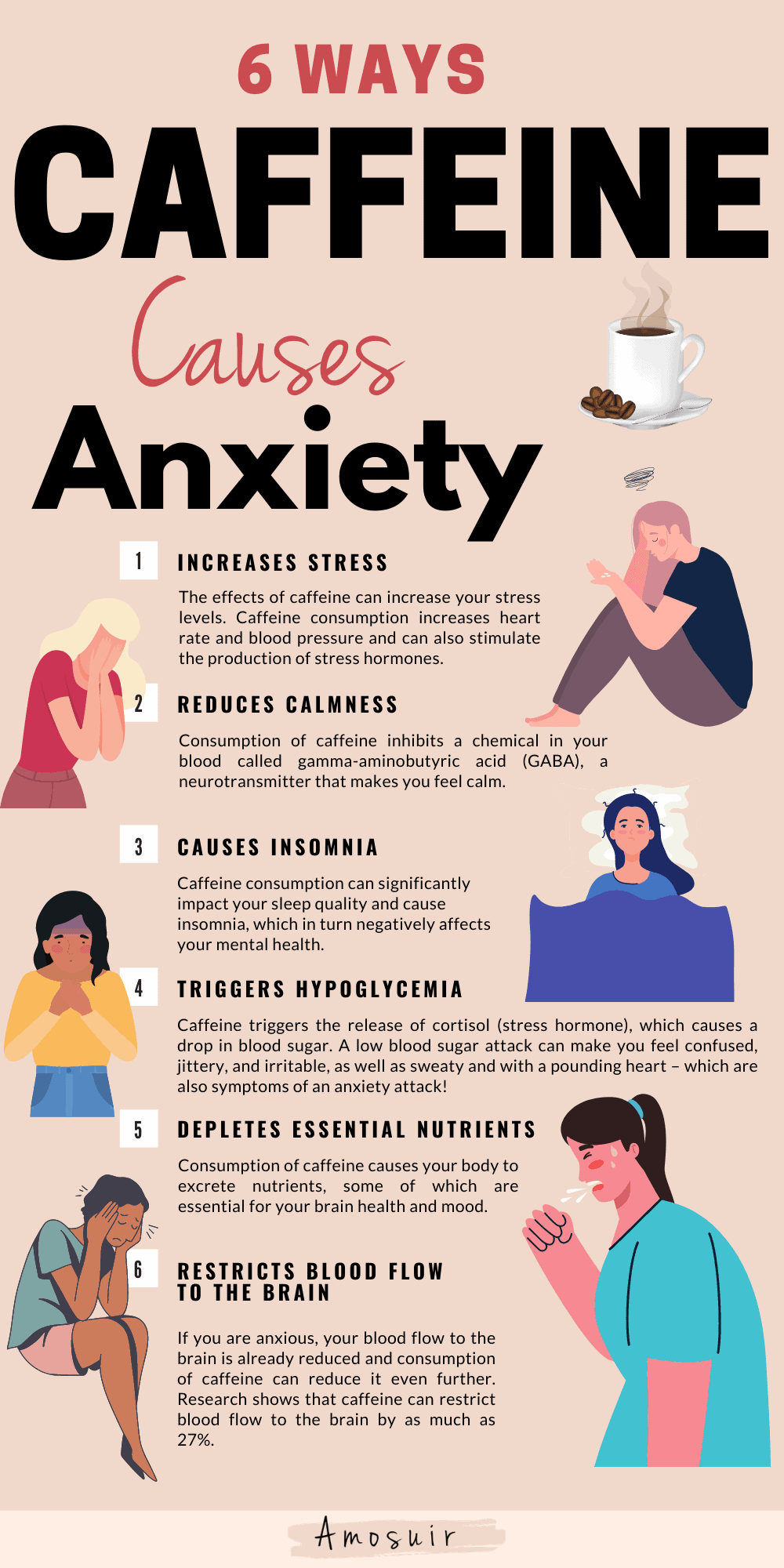 how caffeine causes anxiety infographic