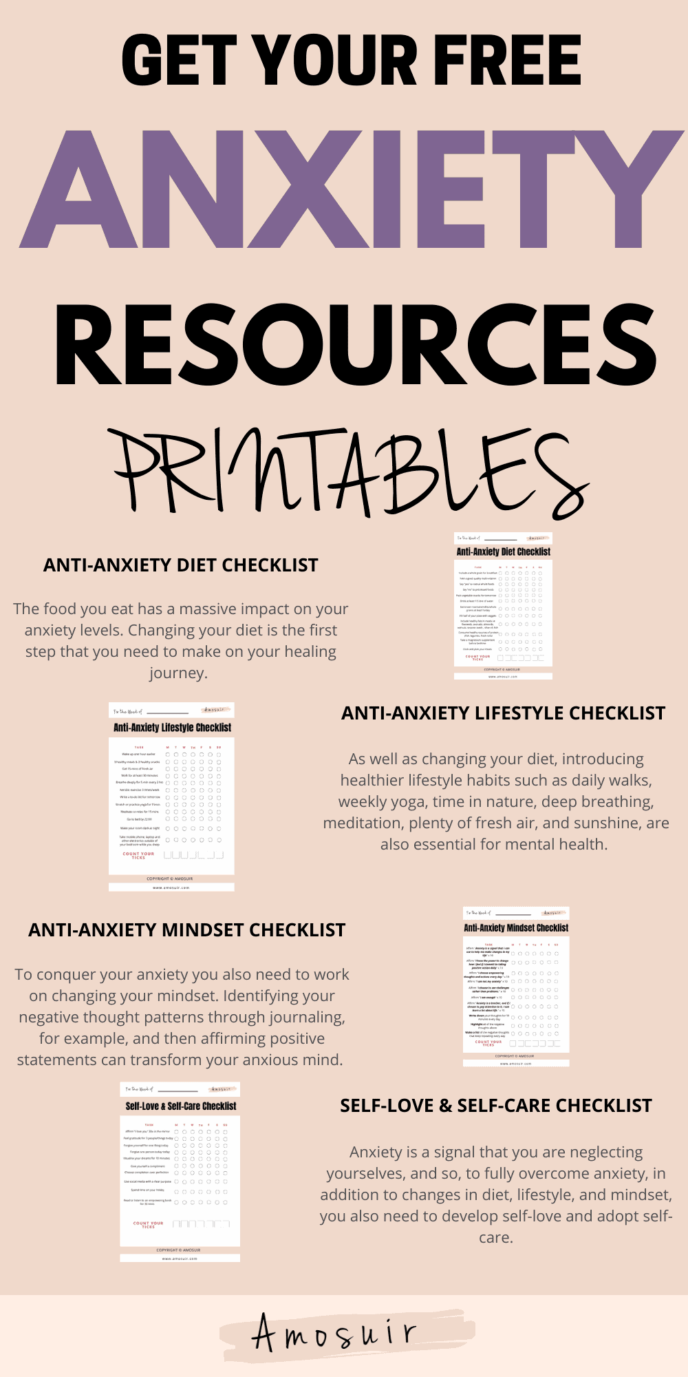 free anxiety resources infographic